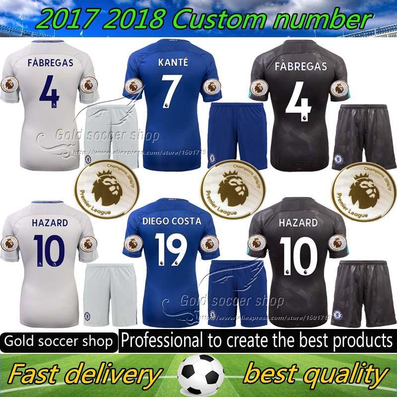 17 18 Chelsea Jerseys Soccer 2017 2018 MORATA Hazard Diego Costa Kante  Camiseta Kit Chelsea Football Shirt BAKAYOKO RUDIGER WILLIAN Sets UK 2019  From ... b179beff6
