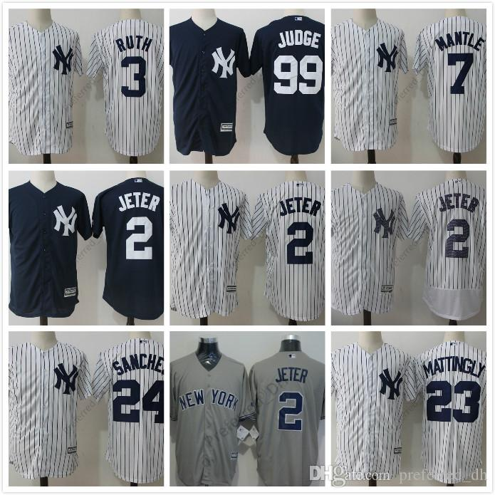 ... With Retirement Patch 2 Derek Jeter White Grey Blue 2017 New York  Yankees Men Cool Base . ... f86a2bb7f