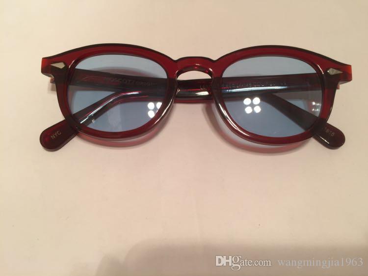 2017 Rétro Vintage Johnny lunettes de soleil tortue et noir avec Bleu lentille ronde lunettes de soleil hommes femmes lunettes cadre neuf cadre de la mode