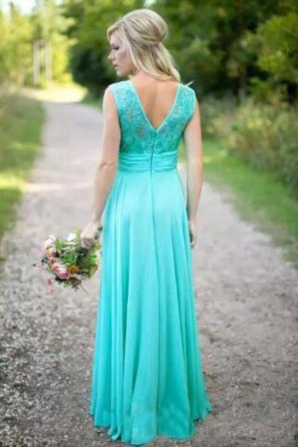 2017 Boho Country Bridesmaid Dresses 2017 Long Formal Wedding Guest Dress Aqua Lace Chiffon Zipper up Maid of Honor Gowns Custom Made Cheap