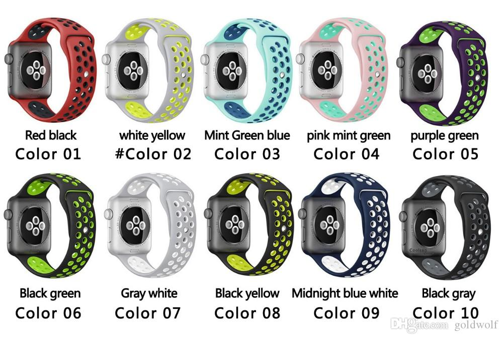 NK Hole Loops Strap Replacement Silicone Wrist Bracelet Sport Band Strap For Apple Watch wristband iwatch 38mm 42mm 10 colors Hot sale