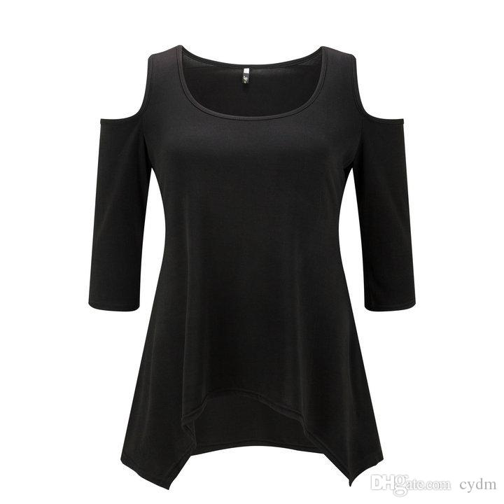 European solid color sexy round collar strapless short casual T-shirt black, white, rose red, orange support mixed batch