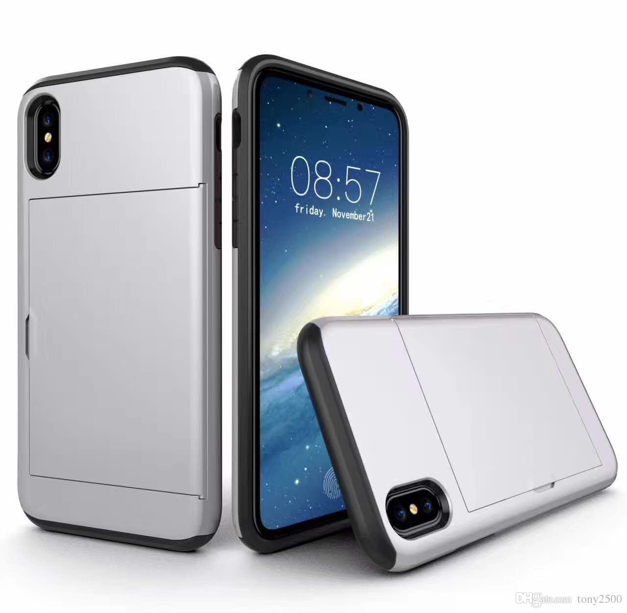 SGP spigen case Slide Card Slot Wallet ID Case Dual Layered -ShoAntick Protector for iPhone X S R max 8 plus 7 plus Samsung s10 s9 s8 note9