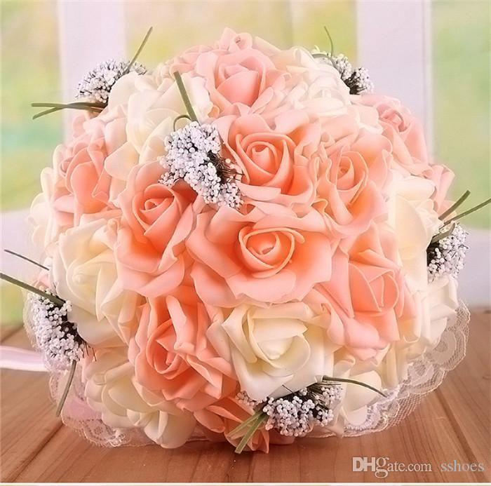 체육 장미 신부 꽃다발 인공 신부 꽃 신부 꽃다발 결혼식 꽃다발 크리스탈 로얄 레이스 실크 리본 새로운 결혼식 호의