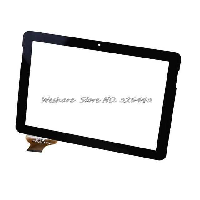 "Wholesale- 10.1"" Inch OEM Compatible with Glass Panel For Tablet PC TPC-51014-V1.0 Touch Screen Free Shipping Black"
