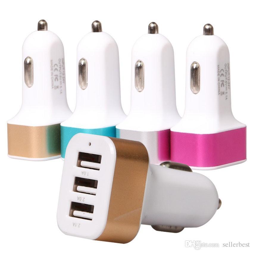 Universel 12V 24v 2.1A2A1A Aluminium Trois Triple USB Adaptateur universel de chargeur de voiture 3 Port pour iPhone Samsung Outils de charge de véhicule