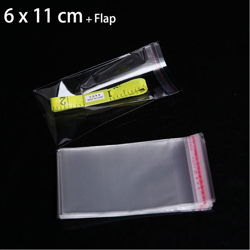 "200 Pcs 6 x 11 cm SELF SEALING PLASTIC PACKAGING SMALL GIFT BAGS 2.36"" x 4.33"" CLEAR RESEALABLE POLY CELLO CELLOPHANE BAG"