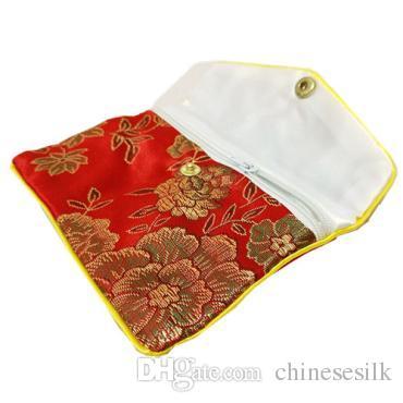 Sacchetto della moneta con cerniera floreale Sacchetti piccolo regalo gioielli Sacchetto del sacchetto di seta Supporto di carta di credito cinese 6x8 8x10 10x12 cm Commercio all'ingrosso /