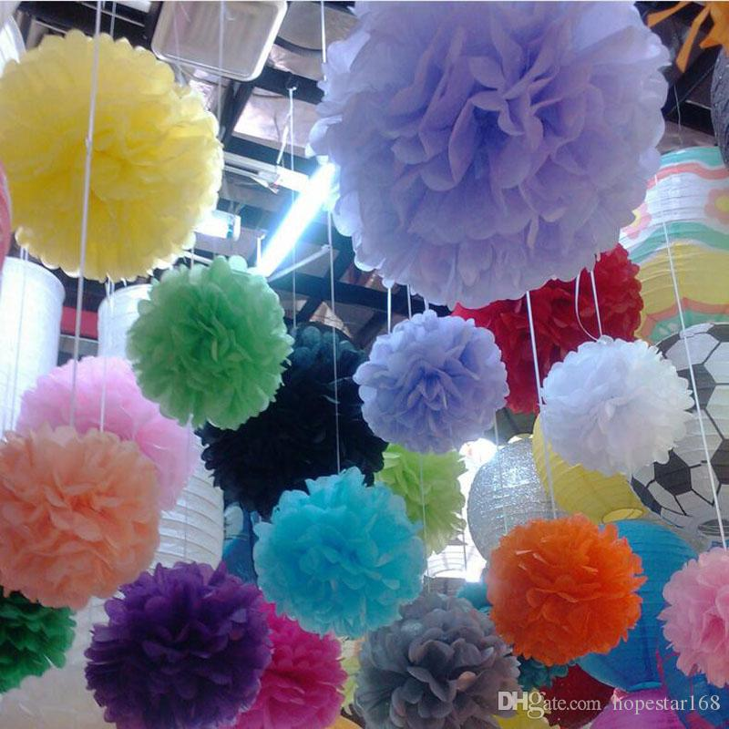 Party Colorful Pom Poms Flower 4 Size Kissing Balls Hanging Balloon for Wedding Party Decoration Supplies Christmas