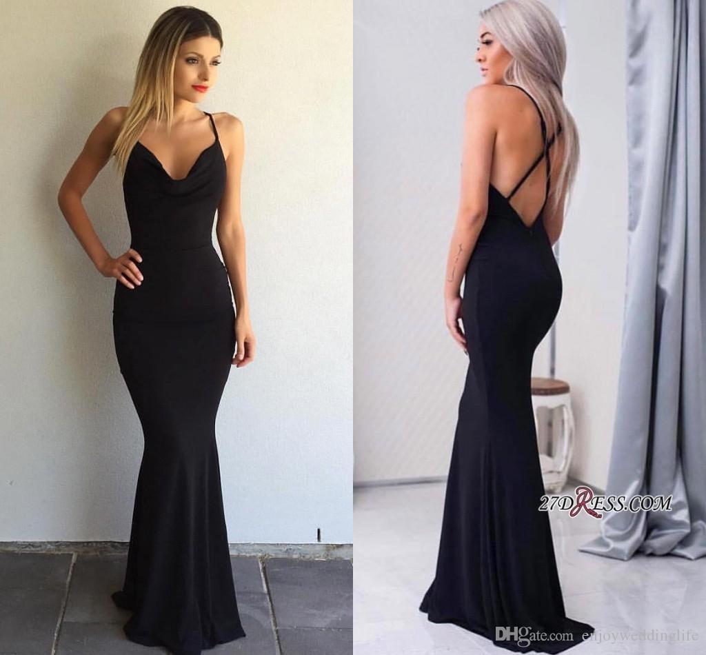 Elegant Simple Black Mermaid Evening Dresses 2017 Cheap Halter V ...