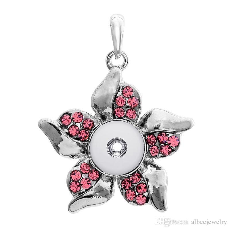 2 Farben Mix Noosa Chunks Fashion Strass Bauhinia Blume Metall Ingwer 12mm Druckknöpfe Halskette Ohrringe Schmuck Set Großhandel