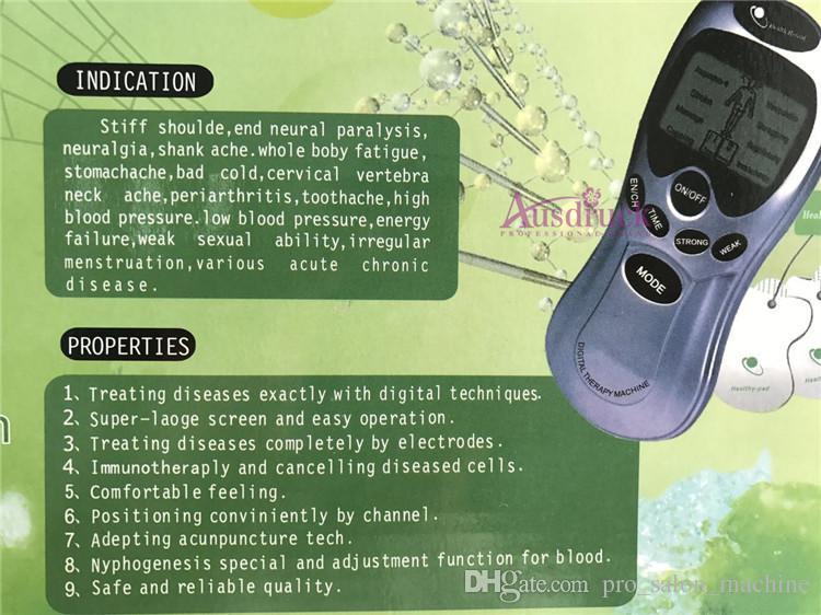 Máquina de acupuntura adelgazante para terapia de acupuntura + 10 pastillas de electrodos + 1 x cable de electrodo de 4 vías