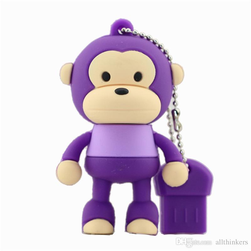 Cartoon Cute Monkey USB Flash Drive Pendrive 4GB 8GB 16GB 64GB USB Stick External Memory Storage Pen Drive