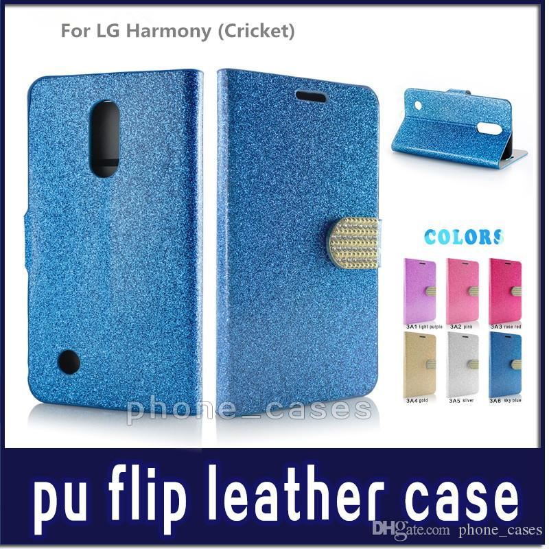 Diamond Pattern Wallet Flip PU Leather Case Cell Phone Cases For Alcatel  Crave/ Pulsemix (Cricket) For LG Harmony Bling Phone Bag Cover