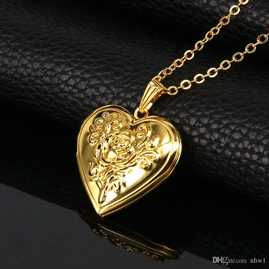 Fashion Photo Frame Memory Locket Pendant Necklace Gold Color Romantic Love  Heart Vintage Rose Flower Jewelry Women Gift Photo Frame Necklace Love Heart  ... 67884f303ac8