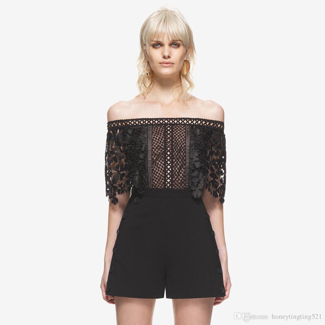 ea0e4ad9c62f 2017 New Design Women s Slash Neck Off Shoulder Sexy Short Sleeve Lace  Crochet Floral Patchwork Shorts Jumpsuit Rompers Plus Size SML Slash Neck  Off ...
