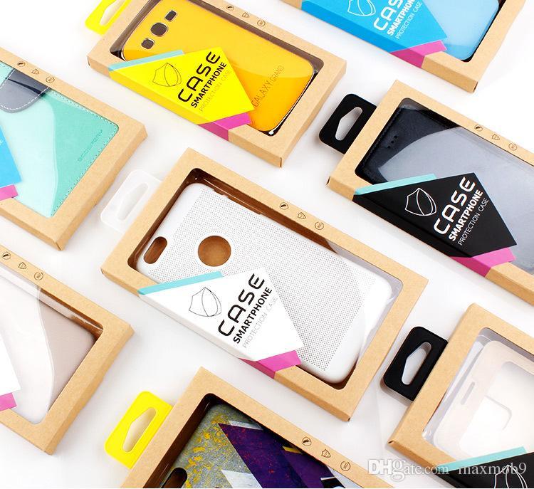 Moda Universal caixa de pacote de varejo genérico para iphone 11 PRO XS max XR X 6S 7 8 mais telefone celular caso kraft caixa de papel tampa do telefone embalagem