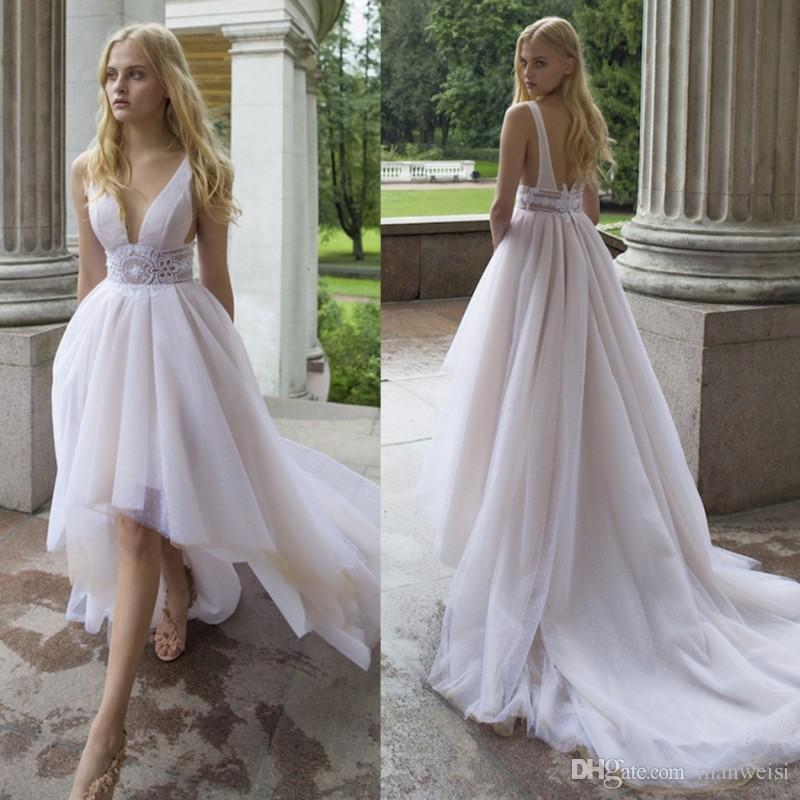 Cheap High Low Wedding Dresses Backless V Neck Lace Appliqued Nurit Hen 2020 Bridal Gowns Custom Made Wedding Dress