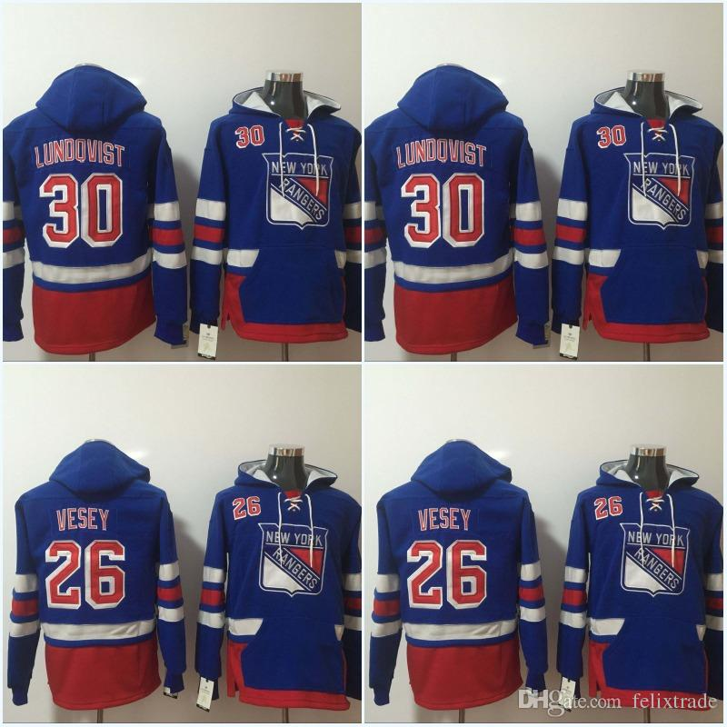 new product ade7f 86081 Mens New York Rangers Jerseys 26 Jimmy Vesey 30 Henrik Lundqvist Hoodies  Jerseys Sweatshirts High Quality Free Shipping