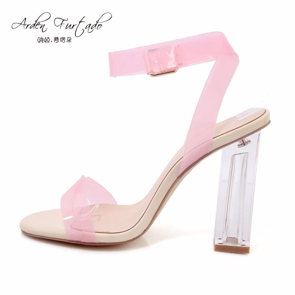 Women Summer Clear Riband High Heel Sandals With Buckle Strap