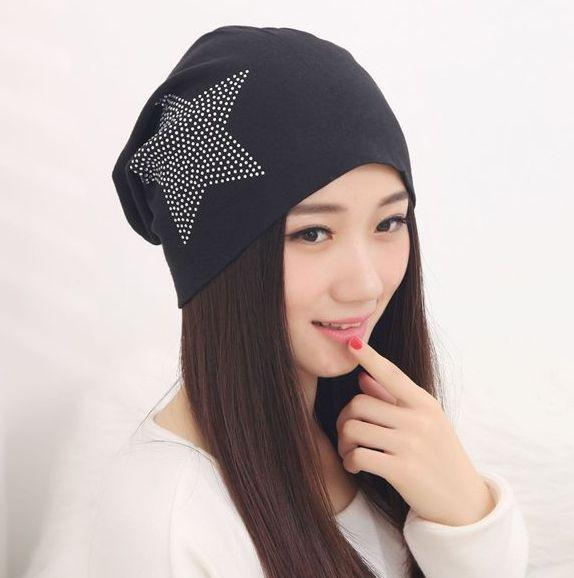 Factory Price 2017 Fashion New Women Knit Baggy Beanie Hat Winter Warm Bronzing Star Fashion Sleeve Head Cap
