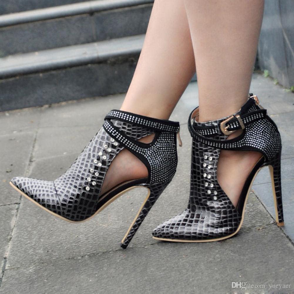Zandina женская мода ручной 110мм острым пряжкой ремень металлические украшения деко высокий каблук шпильках обувь XD151