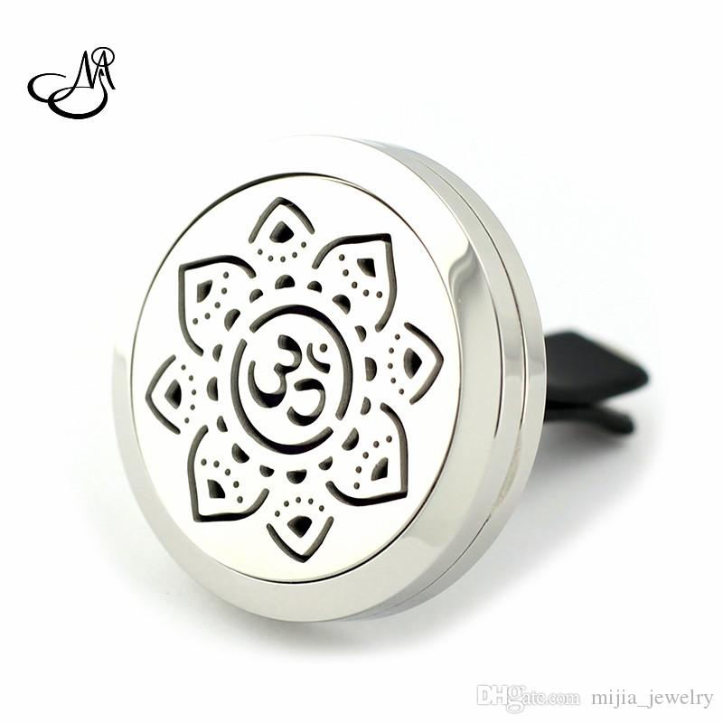 New Silver Cat Design Aromatherapy Car Locket 30mm Magnetic Stainless Steel Essential Oil Diffuser Perfume Clip car Locket Jewelry