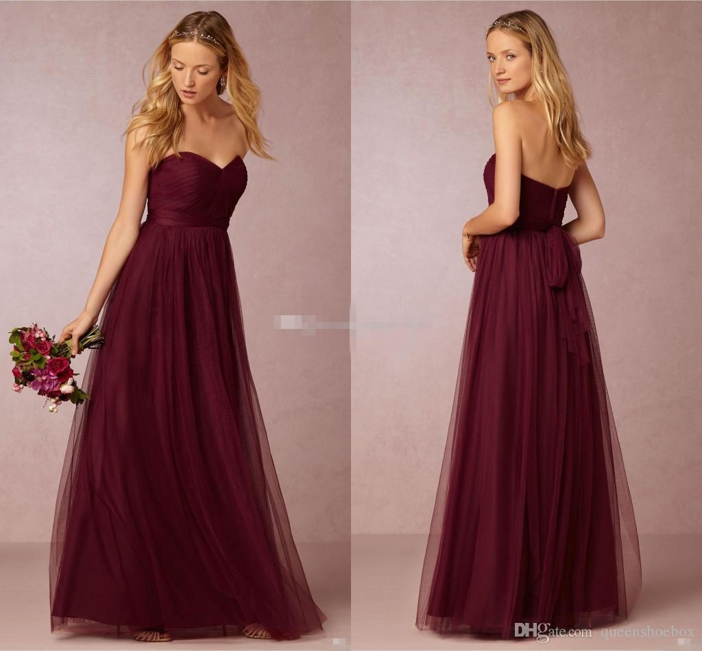 Dark cherry tulle long bridesmaids dresses pleated sweetheart dark cherry tulle long bridesmaids dresses pleated sweetheart neckline a line ruched floor length 2016 burgundy wedding maid of honor gowns beautiful ombrellifo Choice Image