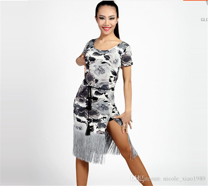 61f4864588f8 2019 New Women Latin Dance Dress Salsa Tango Cha Cha Ballroom Competition  Practice Dance Dress Sexy Short Sleeved Printed Tassel Dress From  Nicole_xiao1989, ...
