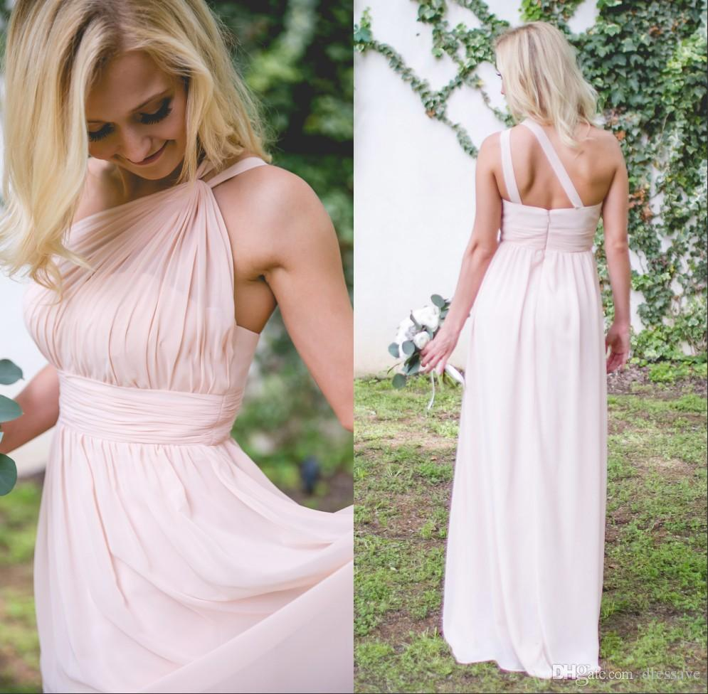 2018 dusty pink bridesmaid dresses one shoulder two straps pleated 2018 dusty pink bridesmaid dresses one shoulder two straps pleated floor length country beach wedding guest party gowns cheap designer gown dress long from ombrellifo Image collections
