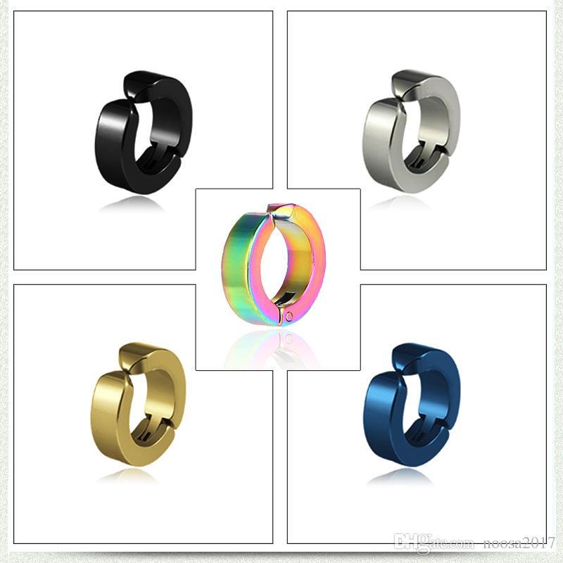 Neue Mode antiallergische Titan Stahl Ohrringe Jungen und Mädchen Ohrringe 5 Farben Punk Ohrclip ohne Ohr Piercings Ohrclip Schraube zurück