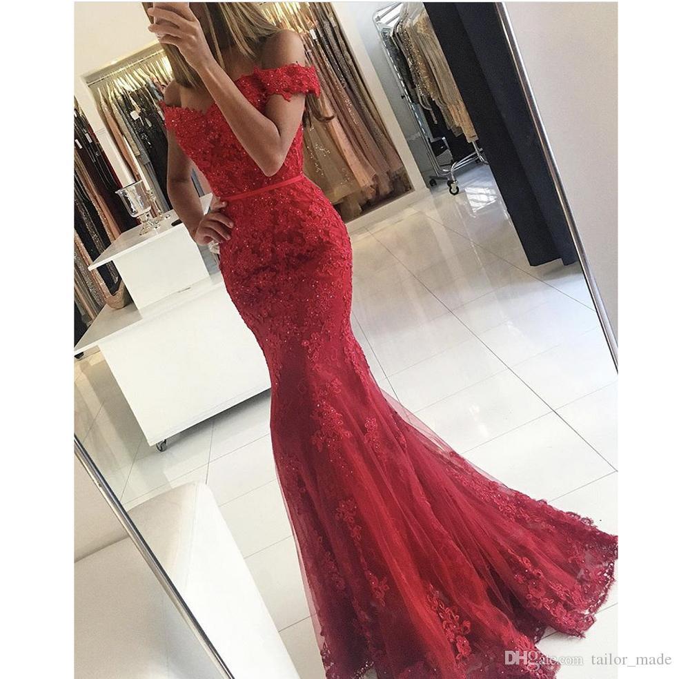 Prom Gowns Vintage Red Vestidos De Fiesta Off the Shoulder Sweetheart Appliqued Short Sleeve Lace Mermaid Evening Dresses
