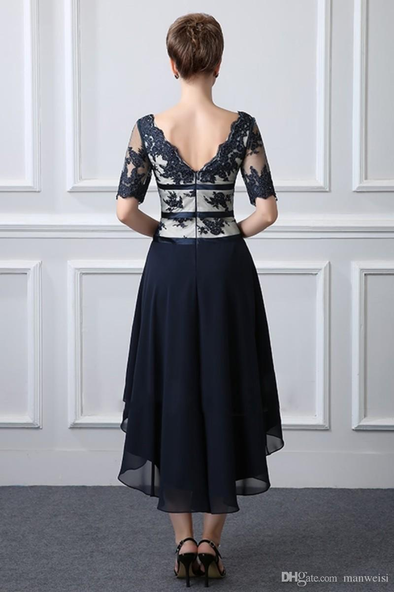 Elegant Dark Navy Mother Of The Bride Dresses High Low Lace Appliques Short Sleeve Mothers Outfit Plus Size Formal Evening Gowns