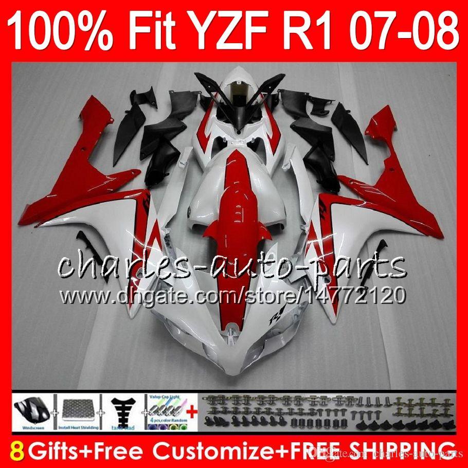 8Gifts Iniezione YAMAHA YZF1000 YZFR1 07 08 YZF 1000 37HM3 Perlato bianco YZF-R1 07-08 YZF-1000 YZF R 1 YZF R1 2007 2008 Carenatura
