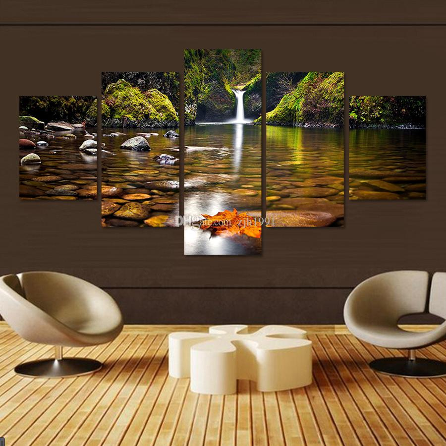 2017 modern unframed 5 panels waterfall landscape paintings hd