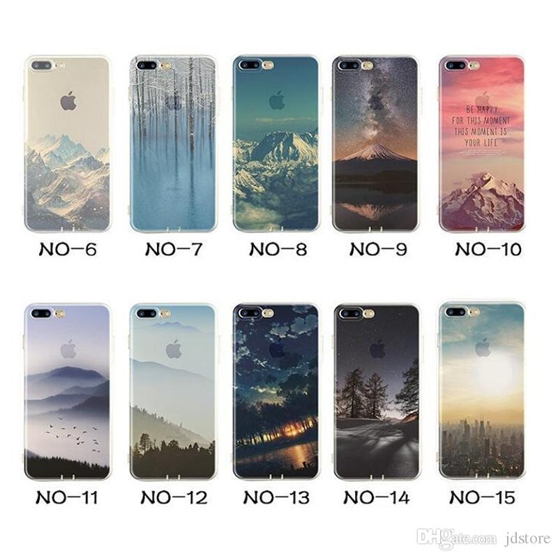 Coloured Drawing Design Clear Frame Silicone Protective Cover Case Landscape TPU Protector Cover Case for iPhone 6 6S 6S plus 7 7plus