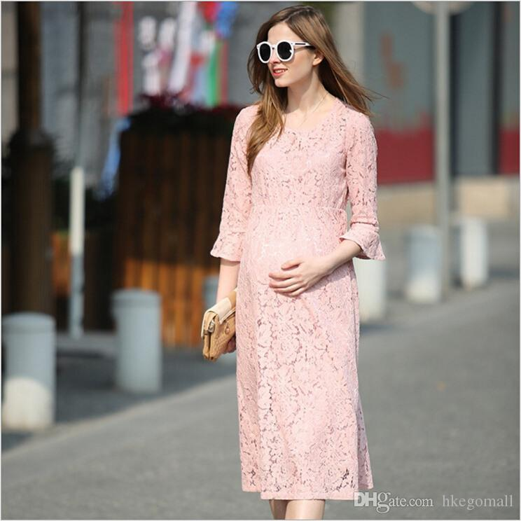 c4ff8589c38 2019 Fashion Maternity Dresses Lace Pink Maternity Photography Props Sexy  Pregnant Dress Pregnancy Dress For Maternity Photo Props From Hkegomall