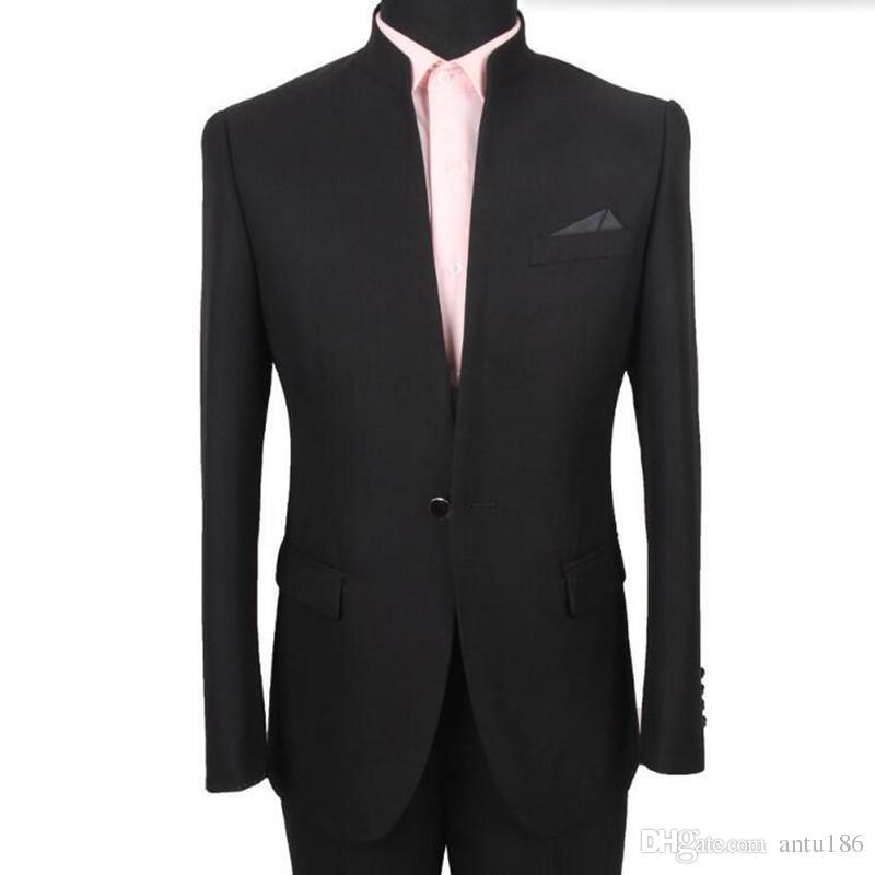 Latest Designs Bruce Lee Style Groom suits Tuxedos black Mandarin collar Men Wedding suits Dinner Suits jacket+pants