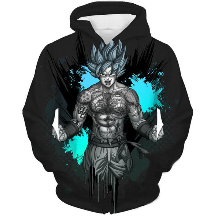 2019 New Fashion Men Women Dragon Ball Z Tattoo Goku Funny 3d