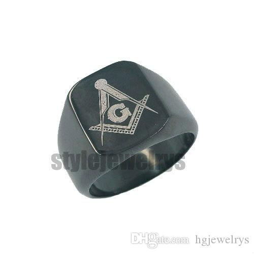 ! G & Masonic Stainless Steel Ring Black Plated Freemasonry Masonic Ring Motor Biker Ring Wholesale SWR0009B