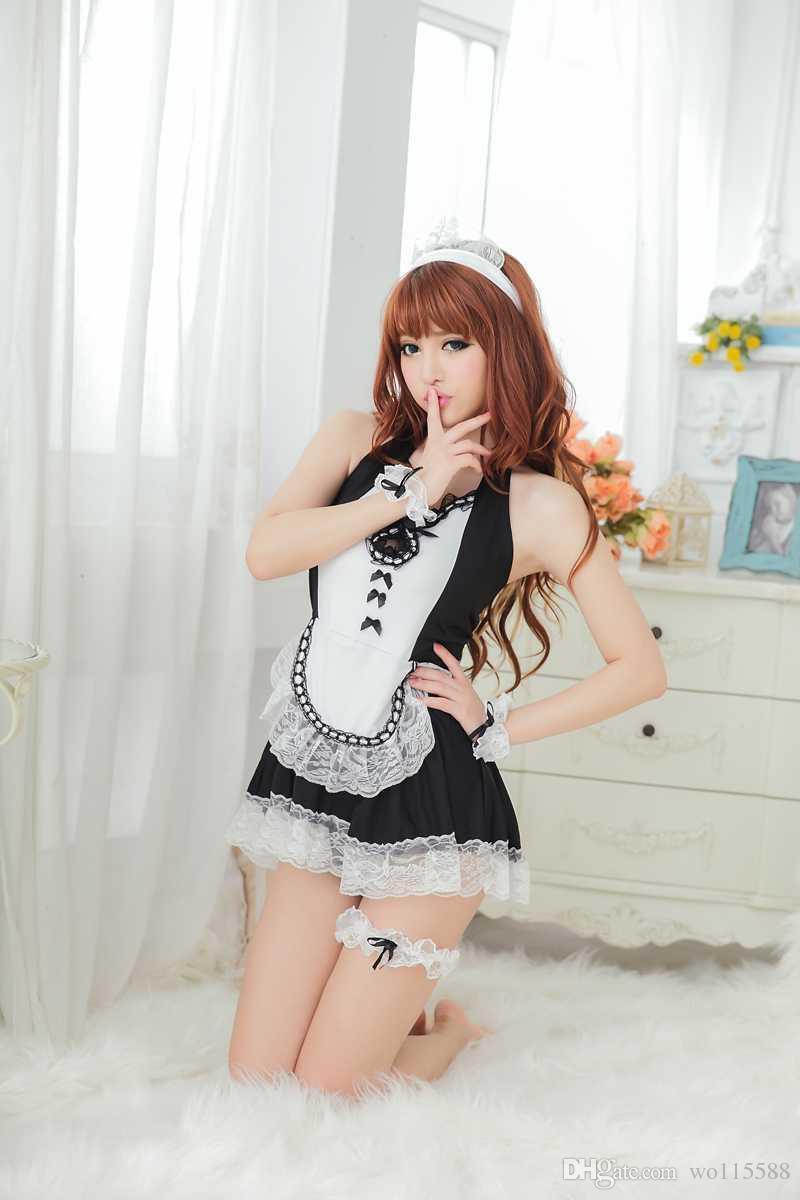 Livraison gratuite nouvelle lingerie sexy tablier de dentelle sexy maid uniformes tentation COS maid robe jupe sous-vêtements sexy personne réelle costume SM