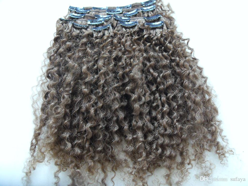 brazilian human virgin remy clip ins hair extensions kinky curls hair weft medum brown 4# color