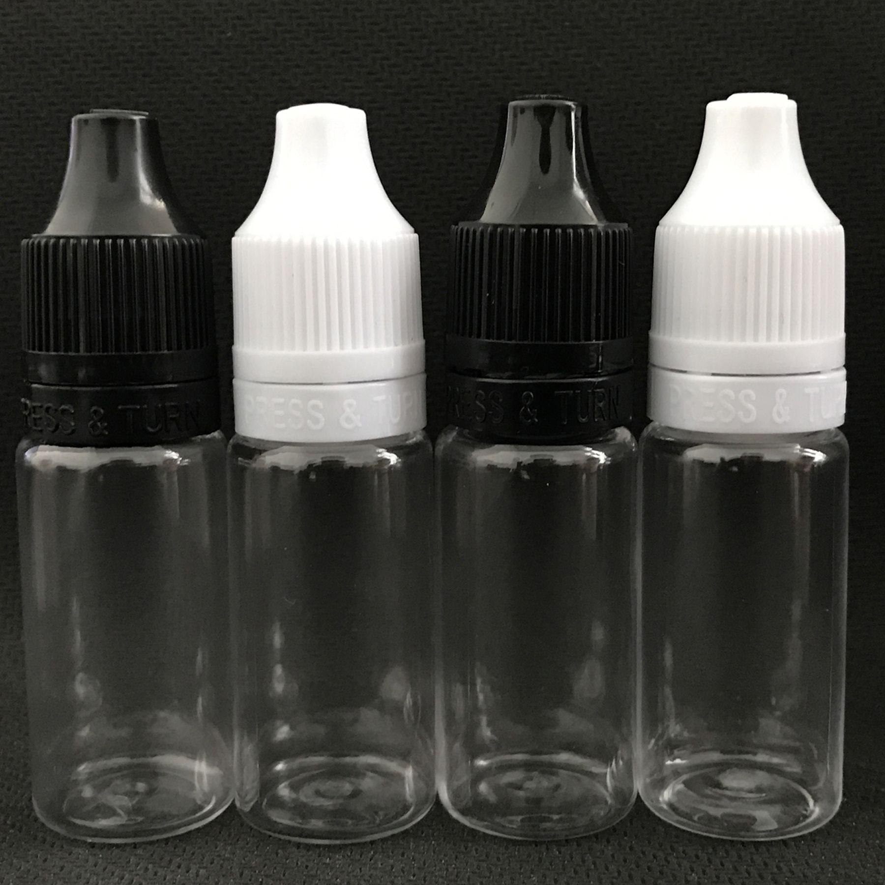 10ML 30ML PET زجاجة قطارة فارغة ل eliquid زجاجة vape شفافة للزجاجات eliquid مع PRESS TURN قبعات حريزعلى الأطفال DHL
