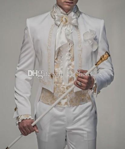 New Style White With Gold Embroidery Groom Tuxedos Groomsmen Men Blazer Wedding Suits Prom Clothing Jacket+Pants G1093