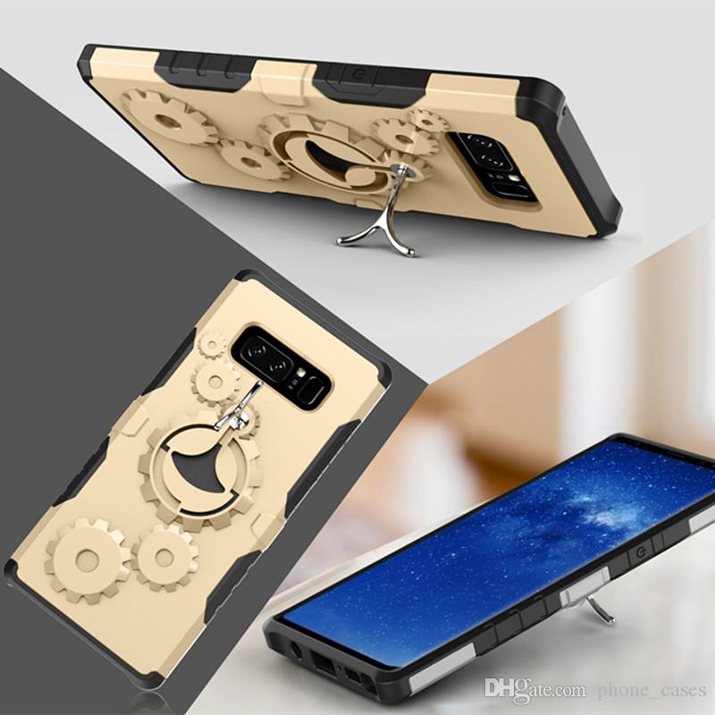 Mechanical Gear TPU+PC hybrid Case Sports Stand Holder Cover Armor Cases For iPhone X 8 7 For Samsung Galaxy Note 8 Opp packaging