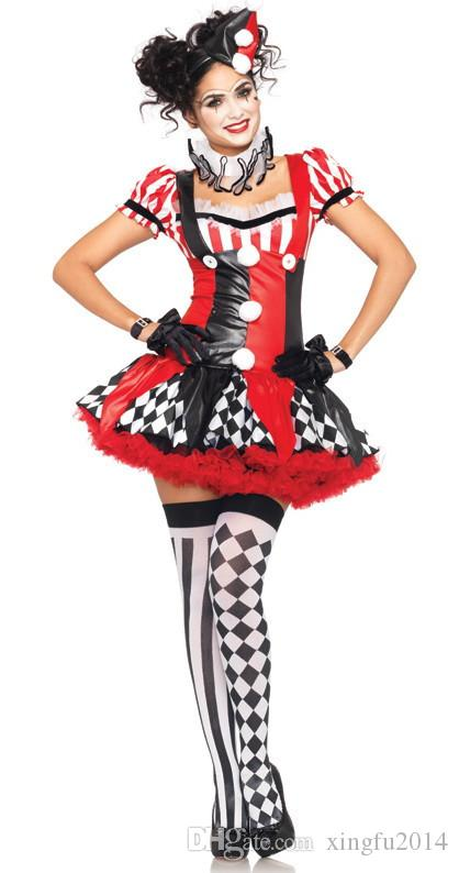 TPRPCO Funny Harley Quinn Costume Women Adult Clown Circus Cosplay Carnival Halloween Costumes For Women