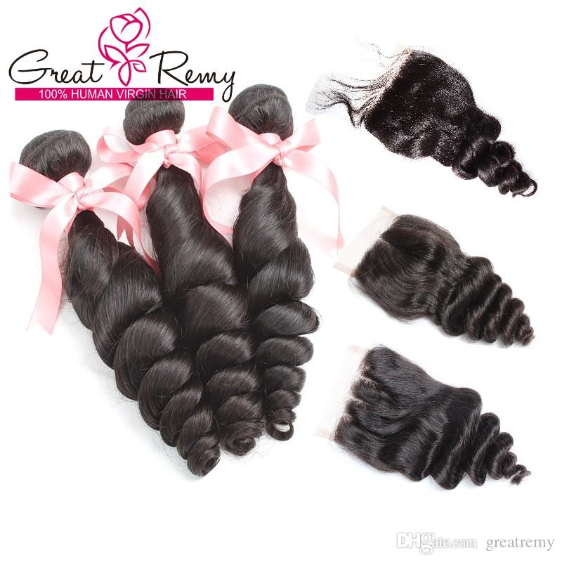 "Bella Brazilian Malaysian Virgin Hair Extensions 3pcs Weave with 4""x4"" Loose Wave 3 Way Part Top Closure Great Remy Factory Hair Bundles"