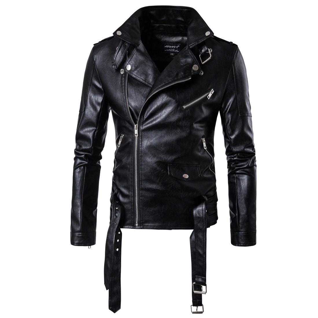 Men Motorcycle leather jackets Male Casual Lapel Coats Brand New clothing European Size Slim Fit Punk Jacket D101