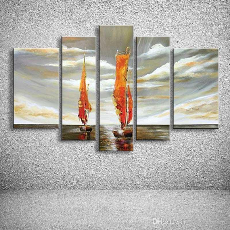 5 Panels Wall Painting Abstract Modern Seascape Boat Oil Acrylic Paintings Home Decor Canvas Art Pictures Sailboat Artworks