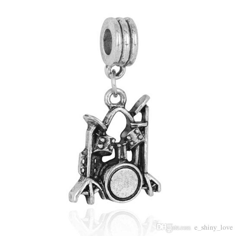 Wholesale Fashion Tibet Silver Durm Set Design Alloy metal Dangle DIY Charms fit European Bracelet &Necklace Low Price